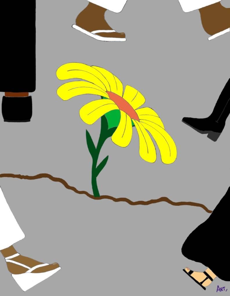 Flor na calçada em meio aos pedestres.