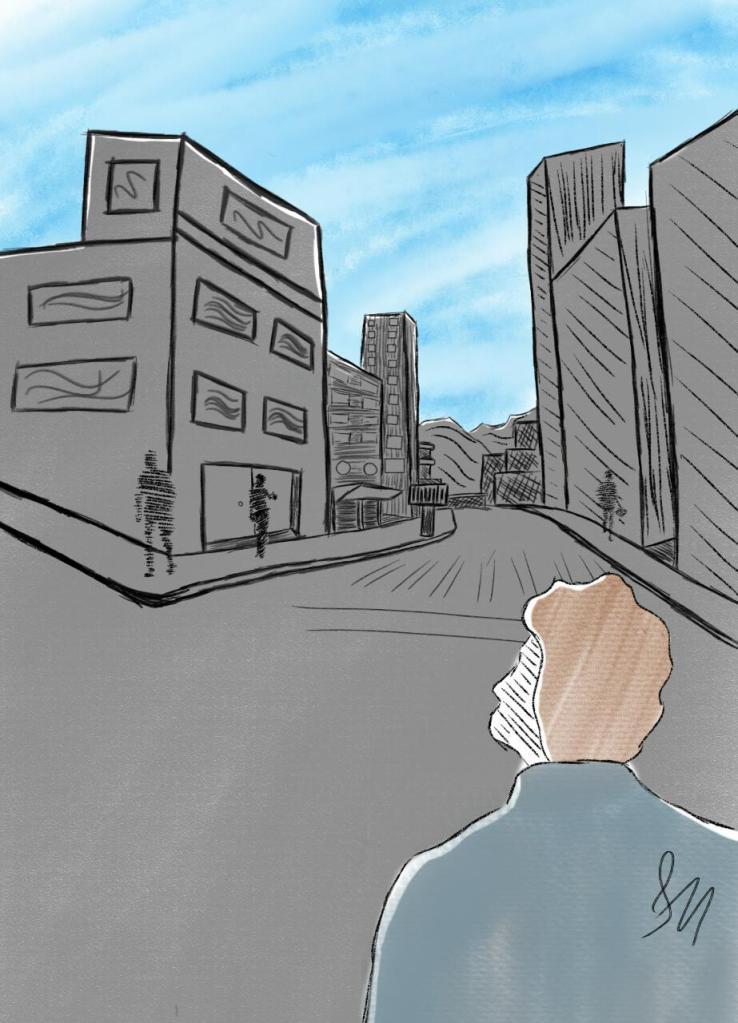 Homem contempla a cor do céu em meio ao ambiente cinzento da cidade.