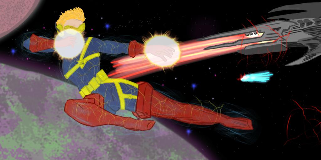 Capitã Marvel usando seus poderes em um vôo espacial.