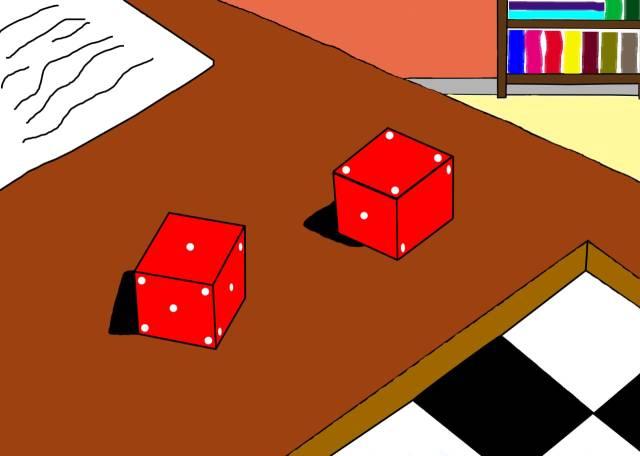 Dados vermelhos, como pontos brancos nas faces, dispostos entre outros objetos sobre uma mesa.